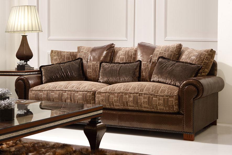 Sofas tapizados a rayas sof cama valentino tela marron - Tapizar un sofa de piel ...